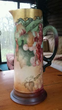 LIMOGES Hand Painted Grapes Tall PITCHER J.P.L. FRANCE ARTIST SIGNED 1905  #Limoges