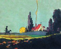 A red roof cottage scene. Storybook Cottage, Cottage Art, Cozy Cottage, Cottage Style, Vintage Cards, Vintage Images, Vintage Ephemera, Art Deco Illustration, Red Roof