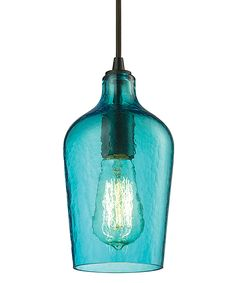 Blue Hammered Glass One-Light Pendant » So pretty.