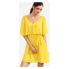Yellow V Neck Ruffle Split Sleeve Dress ($17) ❤ liked on Polyvore featuring dresses, v neckline dress, ruffle sleeve dress, yellow ruffle dress, yellow day dress and yellow sleeve dress