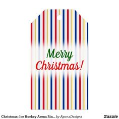 Ice Hockey Arena Rink-Inspired Stripes Gift Tags created by AponxDesigns. Holiday Gift Tags, Christmas Holidays, Christmas Gifts, Custom Ribbon, Personalized Gift Tags, Tag Design, Scandinavian Christmas, Ice Hockey, Merry Christmas