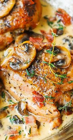 Chicken Thighs with Creamy Bacon Mushroom Thyme Sauce – baked chicken thighs perfectly complemented with flavorful mushroom and bacon sauce. Pure comfort food – chicken dark meat is delicious in a creamy sauce! Fresh thyme is key in this recipe. I used ab Best Chicken Thigh Recipe, Keto Chicken Thighs, Chicken Thighs With Mushrooms, Chicken Thighs In Crockpot, Chicken Thights Recipes, Chicken Recipes, Recipe Chicken, Keto Chicken Thigh Recipes, Low Carb Chicken Dinners