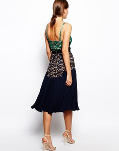 Image 2 of Self Portrait Midi Dress With Lace Bodice And Pleat Skirt