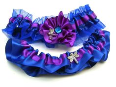 Wedding Garter , beautiful royal purple and roayl blue satin with ...