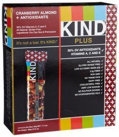 KIND PLUS  Cranberry Almond   Antioxidants  Gluten Free Bars (Pack of 12): http://www.amazon.com/KIND-Cranberry-Almond-Antioxidants-Gluten/dp/B001D0DMME/?tag=httpbetteraff-20
