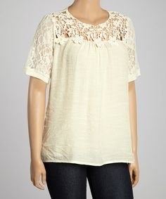 Another great find on #zulily! Oatmeal Open Embroidered Scoop Neck Top - Plus #zulilyfinds