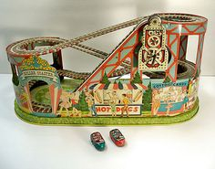 tin wind-up toy Roller Coaster with red & green cars 1950's Chein