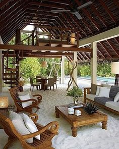 relaxing in your own homemade beach