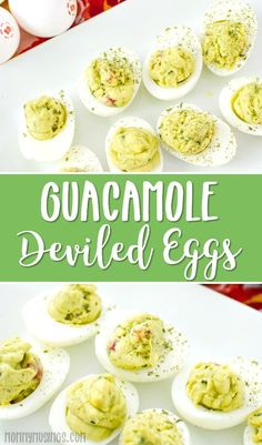 Everyone knows the classic deviled eggs recipe— but what about Guacamole Deviled Eggs? Spice things up a bit with this avocado deviled eggs recipe. Best Appetizer Recipes, Vegetarian Recipes Easy, Best Appetizers, Egg Recipes, Low Carb Recipes, Party Appetizers, Dishes Recipes, Cheese Recipes, Delicious Recipes