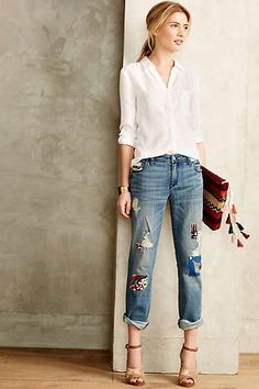 Pilcro Premium Hyphen Embellished Patchwork Jeans