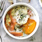 Smoked Salmon & Sour Cream Baked Eggs  - Coles Recipes & Cooking