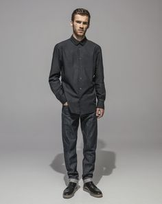 High Count Poplin Club Collar Shirt (Black) Slim Fit Vintage Cross Hatch Selvedge - RAW (Indigo)