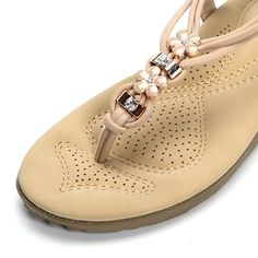 Breathable Flower Beaded Knitting Clip Toe Bohemia Flat Sandals