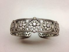 Judith Ripka Sterling Diamonique Oval GARLAND Hinged Cuff Bracelet Needs TLC #JudithRipka #Cuff