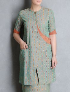Buy Green Orange Ikat Cotton Cross Over Kurta by Indian August Apparel Tunics… Salwar Neck Designs, Kurta Neck Design, Kurta Designs Women, Dress Neck Designs, Blouse Designs, Sharara Designs, Kurti Sleeves Design, Sleeves Designs For Dresses, Couture