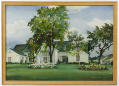 Lot 788: Fred Penny (American, 1900-1988) Watercolor; 1949, signed lower right, depicting a white house
