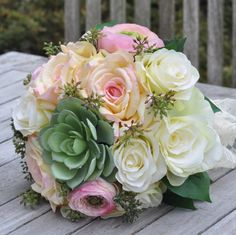 Items similar to Wedding Bouquet made with a Succulent, Pink Roses, Yellow Roses, Eucalyptus Berries and Lemon Leaf by Holly's Wedding Flowers. on Etsy Yellow Wedding Flowers, Bride Flowers, Yellow Roses, Silk Flowers, Pink Roses, Floral Wedding, Wedding Bouquets, Trendy Wedding, Rustic Wedding Centerpieces
