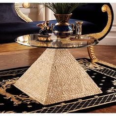 Great Egyptian Pyramid of Giza Sculptural Glass-Topped Table