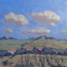 Wine Country Vineyard Impressionism Original Oil Painting -- Heidi Malott