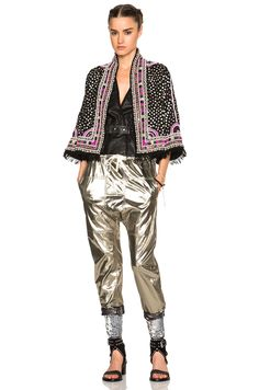 Isabel Marant Izard Glitter Leggings in Silver | FWRD