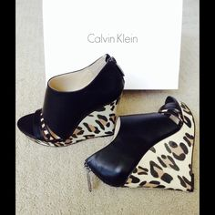"HOSTPICK NWOT✨Calvin Klein Leather Wedges AUTHENTIC ✨ Gorgeous! Sexy wedges from Calvin Klein! Very comfortable  5"" heels with 1"" platform. I wear size 7, but these 6 1/2 fit me perfectly. Don't miss them FINAL PRICE NO TRADE BOX INCLUDED  Calvin Klein Shoes"