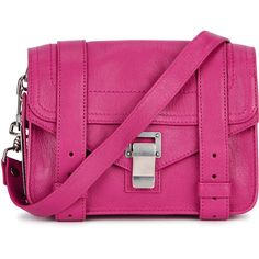 Proenza Schouler PS1 Mini Pink Leather Satchel (3,355 SAR) ❤ liked on Polyvore featuring bags, handbags, mini satchel purse, mini handbags, mini purse, pink satchel purse and pink satchel handbags