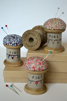 Pincushion Wooden Spool/Cotton Reel Pincushion by StitchGaloreThis is a beautiful handmade pincushion. Made using a vintage style wooden spool / cotton reel decorated with applique, free motion embroidery and wording. Wooden Spool Crafts, Wood Spool, Hobbies And Crafts, Diy And Crafts, Fabric Crafts, Sewing Crafts, Craft Projects, Sewing Projects, Sewing Ideas