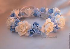 Купить Венок из гардений и голубых фрезий - голубой, белый, венок, венок для невесты, венок на голову