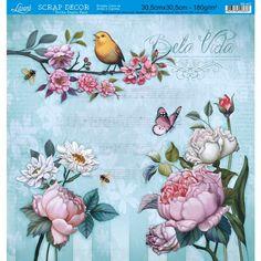 Página para Scrapbook Dupla Face Litoarte 30,5 x 30,5 cm - Modelo SD-427 Varias Flores Bela Vida/Flores e Listras - CasaDaArte