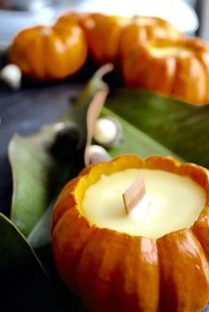 love, love, LOVE this...beeswax pumpkin candles...how to...