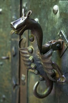 Dragon-shaped door knocker to gain access to Orava castle, Oravský Podzámok, Slovakia