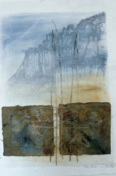 Blue Mountains Landscape by Inga Hunter - Apart fromblack and white linoprints, these works all include my own handmade papers. I make unsized papers; papers which look like bits of earth; I cast paper in relief, and paint, print and stitch most works.