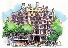 Casa Mila Barcelona | The Gaudi masterpiece, painted from a … | Flickr
