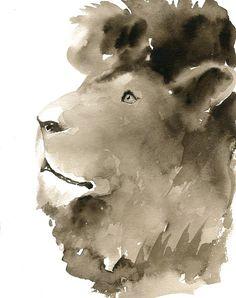 LION++Art+Print+8x10inchPosterArchival+printAnimal+by+dimdimini,+$19.00