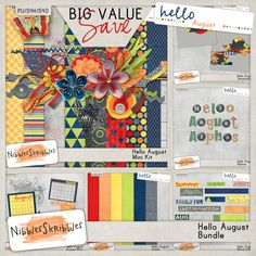 The Hello 2014 series is created with the idea that you want to scrap 1-2 pages about the month as a whole. Just enough themed papers and elements to create those round up, review pages! #NibblesSkribbles #thestudio #digitalscrapbooking