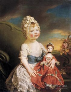 Portrait Of Charlotte Augusta Matilda by Johan Joseph Zoffany Handmade oil painting reproduction on canvas for sale,We can offer Framed art,Wall Art,Gallery Wrap and Stretched Canvas,Choose from multiple sizes and frames at discount price. Old Dolls, Antique Dolls, Vintage Dolls, Jean Antoine Watteau, 18th Century Fashion, Doll Painting, Oil Painting Reproductions, Wooden Dolls, Vintage Children