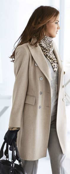 classic coat paired with animal print scarf