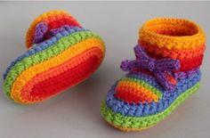 Rainbow Crochet Booties Free Pattern