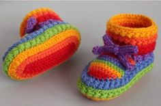 Rainbow Crochet Booties Free Pattern
