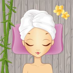 Girl Relaxing In The Spa vector art illustration