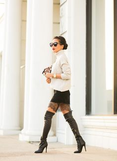29 Stylish And Edgy Work Outfits - World inside pictures Edgy Work Outfits, Mode Outfits, Fall Outfits, Pull Oversize Gris, Petite Fashion, Womens Fashion, Fashion Trends, Fashion Bloggers, Over Boots