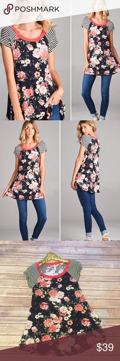 "New! S-M Coral/black floral tee Super cute tee! So soft and comfy and also adorable. Dress up or down. Actual item pictured in a small w/bust & length, med bust 17.5 and large bust 18.5-19"" - it has 3 inches of stretch so don't size up. 95/5 Rayon/Spandex. Made in USA! Direct from manufacturer without tags. Tops Tees - Short Sleeve"