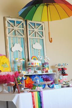 April Showers & Rainbow Party - Kara's Party Ideas - The Place for All Things Party Rainbow Parties, Rainbow Birthday Party, Rainbow Theme, Rainbow Baby, Birthday Party Themes, Rainbow Nursery, Birthday Ideas, Invitation Fete, April Showers