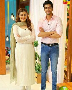 """Kubra Khan and Shahzad Sheikh in #JagoPakistanJago For the promotion of their upcoming drama serial """"Alif Allah Aur Insaan""""."""