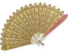 A RARE FABERGÉ ENAMEL FAN WITH JEWELLED TWO-COLOUR GOLD MOUNTS, WORKMASTER HENRIK WIGSTRÖM, ST PETERSBURG, 1903, length including loop: 17.7cm, 7in.
