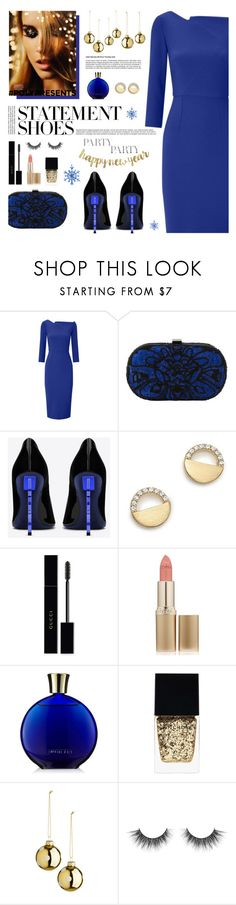 """#PolyPresents: Statement Shoes"" by tamara-p ❤ liked on Polyvore featuring Roland Mouret, Santi, Yves Saint Laurent, Bloomingdale's, Gucci, L'Oréal Paris, Witchery, contestentry and polyPresents"