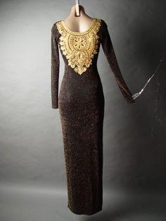 YFF GOLD DETAILED THIGH HIGH SLIT DRESS - Threadflip