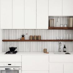 Vertical Tile Is The New Kitchen & Bathroom Trend You Need To Know About - Decoration Wedding and Home One Wall Kitchen, Kitchen And Bath, New Kitchen, Kitchen Decor, Kitchen Layout, Eclectic Kitchen, Kitchen Wall Tiles, Boho Kitchen, Smart Kitchen