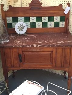 Antique English wash stand with marble top, tile backsplash and on casters Would make a great bathroom vanity!