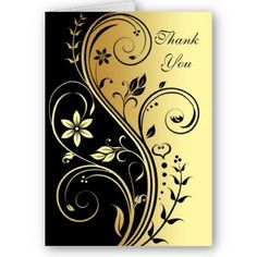Google Image Result for http://rlv.zcache.com/floral_black_gold_scroll_wedding_thank_you_card-p1371725455839917437gqk_325.jpg%3Ft_coverimage_iid%3De8c7b513-eebd-4758-9936-88e1fb0a8ac7%26t_text1%3DThank%2520%250D%250AYou%26t_text2%3DYour%2520text%2520here!